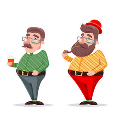 Smoking pipe coffee geek hipster casual character vector