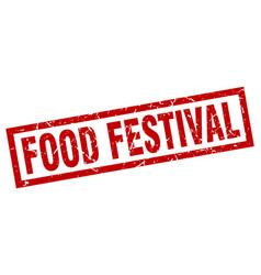 Square grunge red food festival stamp vector
