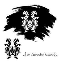 Stylized decorative bison mask tattoo silhouette vector