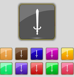 Sword icon sign set with eleven colored buttons vector