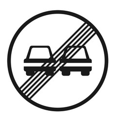 The end of prohibition overtaking sign line icon vector