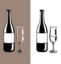 wine glass and bottle of champagne vector image vector image