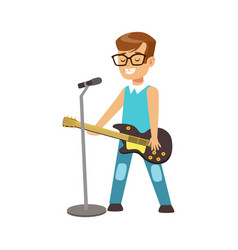 young smiling boy playing guitar and singing with vector image