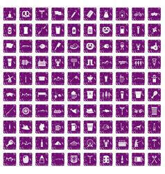 100 beer icons set grunge purple vector