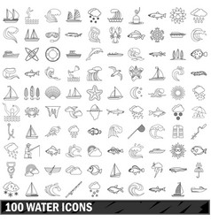 100 water icons set outline style vector image