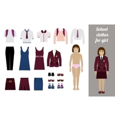 Create school girl kit with different uniforms vector