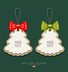 Label paper and ribbons merry christmas design vector