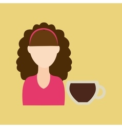 Character girl soda coffee icon graphic vector