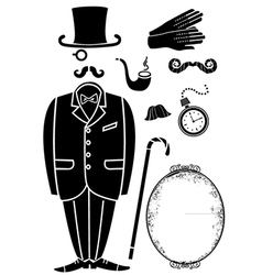 Gentleman retro suit and accessories vector