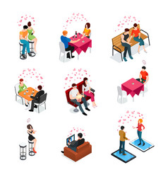 Dating isolated isometric icons vector