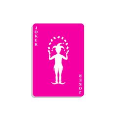 Playing card with joker in pink design vector
