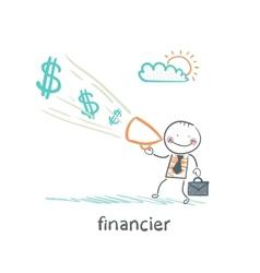 financier yells into a megaphone about the money vector image