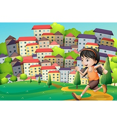 A hilltop with a girl running across the buildings vector