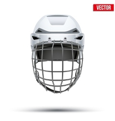 Classic white goalkeeper hockey helmet isolated on vector