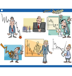 Business cartoon crisis concepts set vector