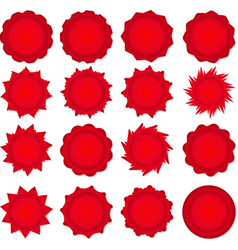 Big set of red promotional stickers vector
