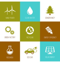 Ecology and nature conservation icons vector