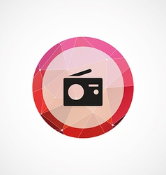 Radio circle pink triangle background icon vector