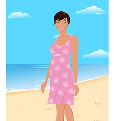 Beautifu girl on beach vector