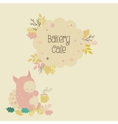 Kids bakery cafe logo and cute monster vector