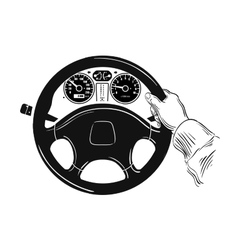 Control of the car hand on car steering wheel vector