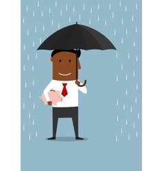 Businessman protecting savings and piggy bank vector image