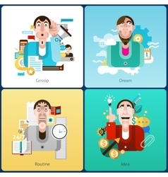 Emotion flat set vector