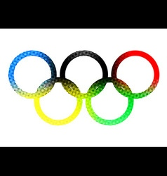 Color halftone olympic ring on white background vector