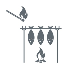 Barbecue grill and matches icon vector