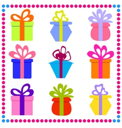 9 different gift boxes with ribbon vector