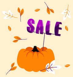 Autumn holiday sale banner with big pumpkin and vector