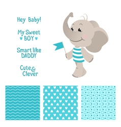 Baby elephant blue design with seamless patterns vector