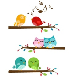 Birds singing on the branch vector image vector image