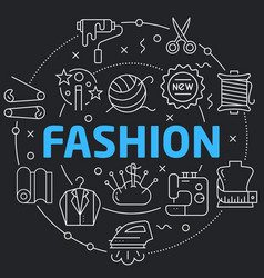Black line flat circle fashion vector