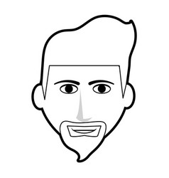 Black silhouette cartoon front face man with beard vector
