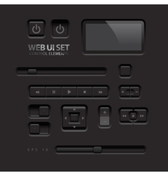 Black web ui elements buttons switches bars power vector