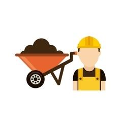 Builder with wheelbarrow isolated icon design vector