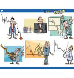 Business cartoon crisis concepts set vector