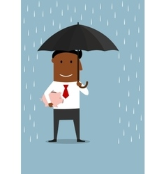 Businessman protecting savings and piggy bank vector image
