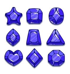 Cartoon different shapes gems set vector image vector image