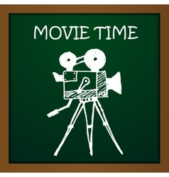 Chalk draw old movie camera eps10 vector