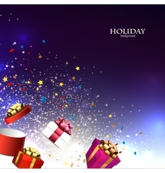 Christmas background with christmas gift boxes for vector image