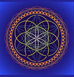 Color mandala sacred geometry vector