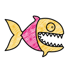 Color pencil drawing of piranha with big teeths vector