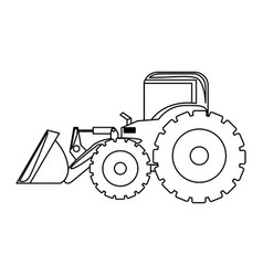Contour backhoe loader icon vector