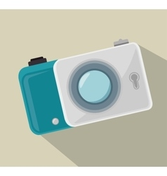 Digital white photo camera and shadow design vector