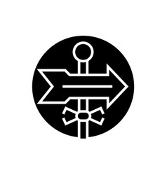 direction label icon black vector image vector image
