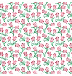 Ditsy floral pattern with small red tulips vector