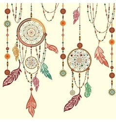 Dream catcher feathers beads cobweb vector