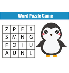 Educational children game word search puzzle kids vector